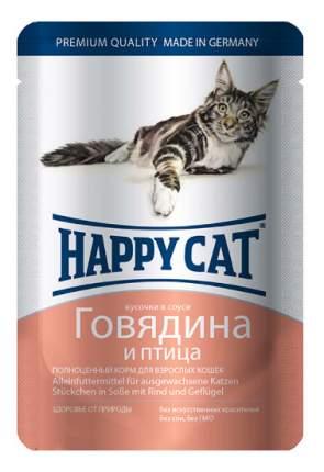 Влажный корм для кошек Happy Cat, говядина, домашняя птица, 22шт, 100г