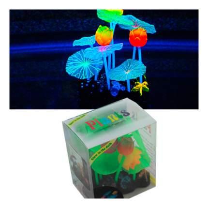 Декорация для аквариума Микс из растений силикон листья, цветы лотоса 6 и 3шт, 9х7х11см