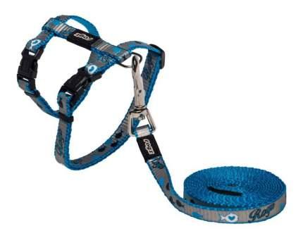 Комплект поводок и шлейка для кошек Rogz ReflectoCat S-11мм 1,8 м Синий