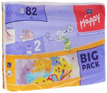 Подгузники для новорожденных Bella Baby Happy Mini 2 (3-6 кг), 82 шт.