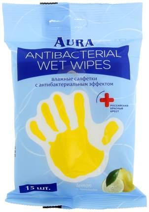 Влажные салфетки Aura Антибактериальные с лимоном 15 шт