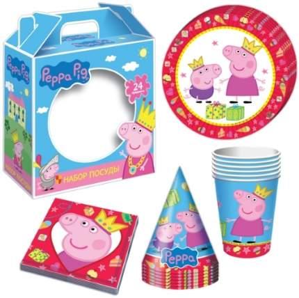 Набор одноразовой посуды для праздника Пеппа-принцесса Peppa Pig 24 предмета