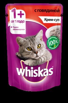 Влажный корм для кошек Whiskas крем-суп с говядиной, 85г