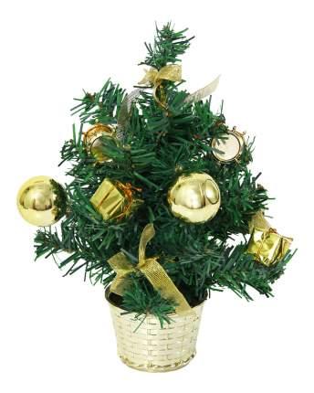 Ель искусственная Вельт декоративная с золотыми украшениями 30 см