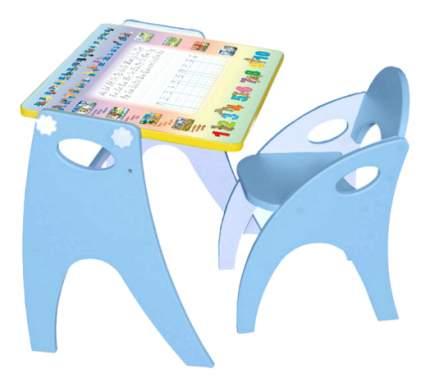 Комплект детской мебели ИНТЕХПРОЕКТ Парта-мольберт и стульчик Буквы-Цифры голубой