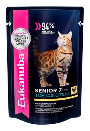 Влажный корм для кошек Eukanuba Senior Top Condition, с курицей в соусе, 24шт по 85г