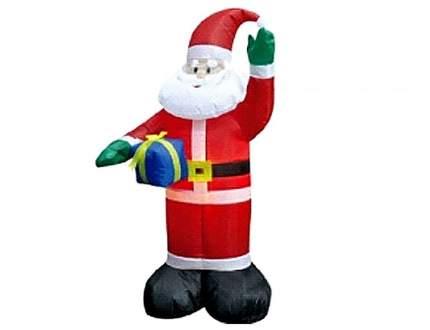 Надувная фигура Дед Мороз с синим подарком 1.2 м с подсветкой DF214-S2