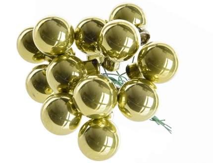 Гроздь стеклянных шаров Kaemingk на проволоке 25 мм оливковый глянцевый, 12 шт 713024