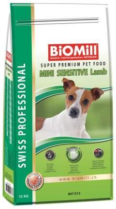 Сухой корм для собак BIOMILL Swiss Professional Mini Sensitive Lamb, ягненок, рис, 12кг