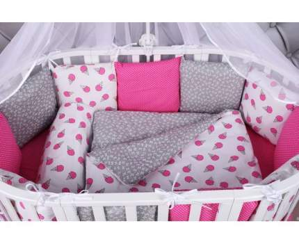 Бортик в кроватку 12 предметов (12 подушек-бортиков) AmaroBaby SWEET (малин./белый, бязь)
