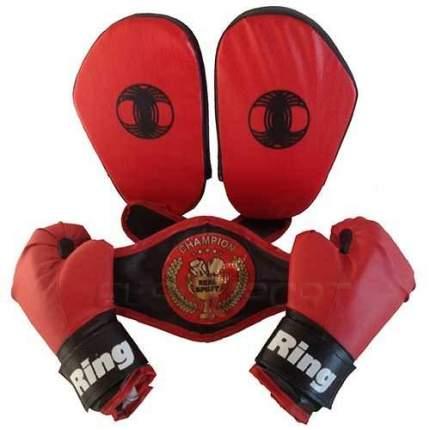 Набор боксерский RealSport ЛИДЕР перчатки, лапы, пояс чемпиона