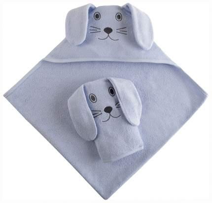 Набор для купания Наша Мама Зайка, голубая махра полотенце-уголок и рукавичка 80*80 см