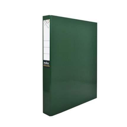 Папка-файл Index на 4 кольцах, лам., Зеленая, диаметр 30мм