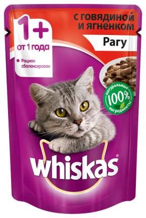 Влажный корм для кошек Whiskas рагус говядиной и ягненком, 24 шт по 85г
