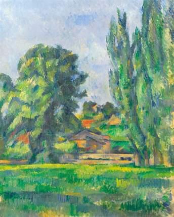 Репродукция Поль Сезанн, Пейзаж с тополями 50х62,5 см