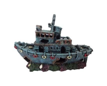 Декорация для аквариума Prime Затонувший буксир CH-2278, пластик, 30,5х12х20 см