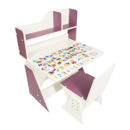 Детская растущая парта и стул Первое место рисунок, бело-сиреневый,