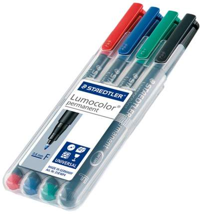 Набор Staedtler перманентных универсальных маркеров Lumocolor F, 4 цвета