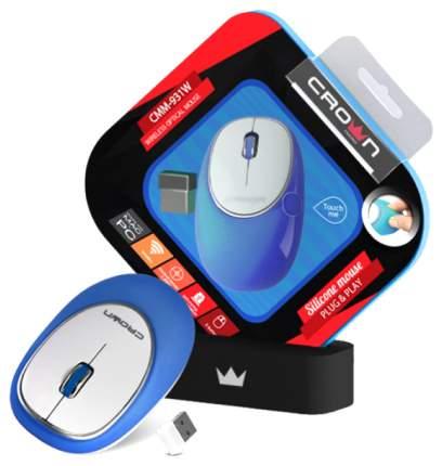 Мышь беспроводная Crown CMM-931W синий белый USB