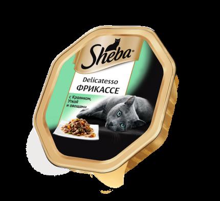 Влажный корм для кошек Sheba Delicatesso фрикассе с кроликом, уткой и овощами, 85г