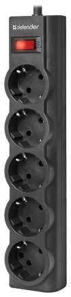 Сетевой фильтр Defender ES largo, 5 розеток, 5 м, Black