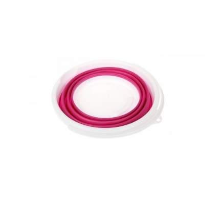 Ведро складное силиконовое, круглое, 5 л, цвет: розовый