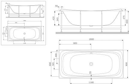 Экран для ванны AM.PM W30A-180-080W-P