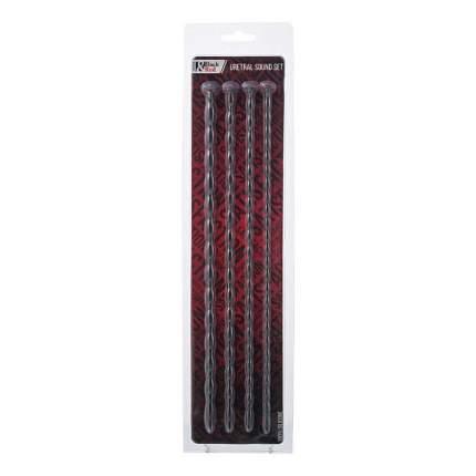 Набор уретральных зондов TOYFA Black&Red, 4 штуки, черный