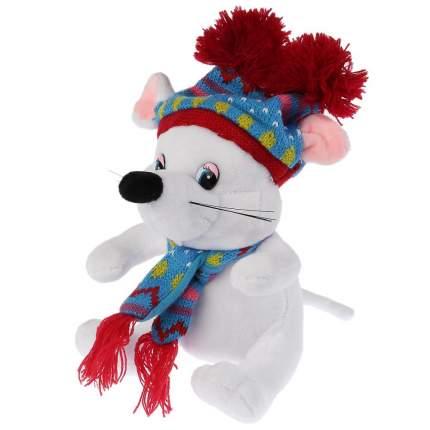 """Игрушка мягкая """"Мышка белая в шапке с двумя помпонами"""", 15 см"""