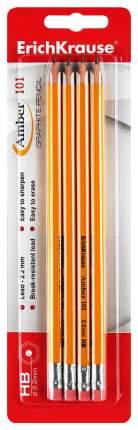 Набор чернографитных карандашей Erich Krause Amber 101 с ластиком