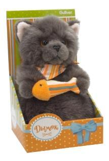 Мягкая игрушка Gulliver Котик Дымок с рыбкой, 19 см