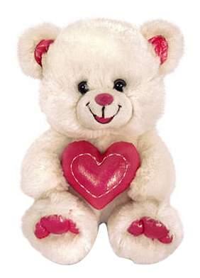Мягкая игрушка LAVA Мишка блестящий с сердцем 20 см Звук: Ах, как я тебя люблю