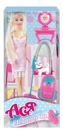 Кукла Ася Блондинка в розовом платье с пылесосом Уборка