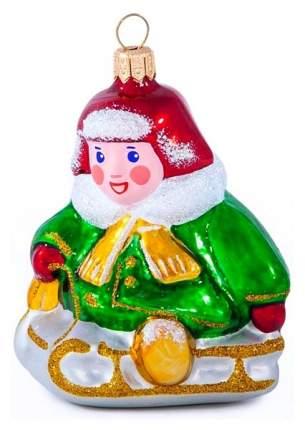 Елочная игрушка Елочка Мальчик на санках C1598 7 см 1 шт.