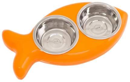 Двойная миска для кошек и собак Hing, пластик, сталь, оранжевый, серебристый, 0.5 л