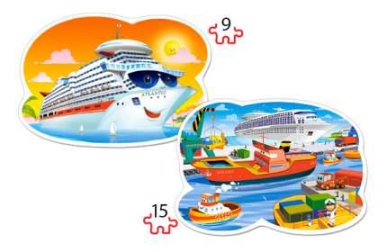 Castorland Пазл Кастор 2 в 1 контур 9*15 морские приключения В-020102, 24 элемента