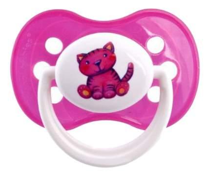 Пустышка силиконовая Котенок 0-6 мес розовая Canpol Babies