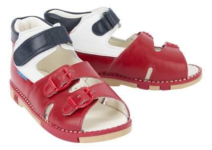 Детские ортопедические сандалии Таши Орто красно-белые с синим