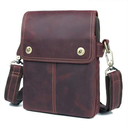 """Мужская сумка через плечо из натуральной кожи """"Кошелькофф"""" коричневая 1006BN"""