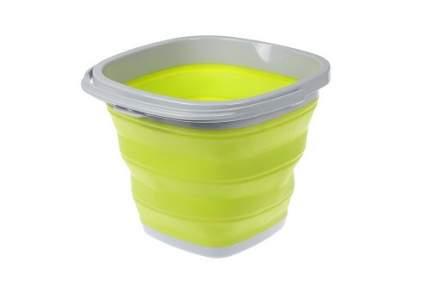 Ведро складное силиконовое, квадратное, 5 л, цвет: зеленый
