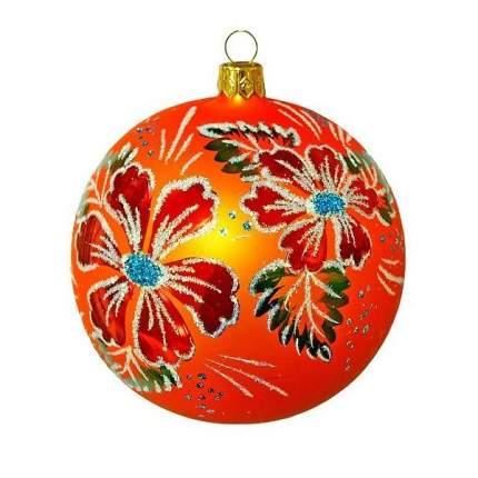 Шар на ель Новый год 9.5 см С 326-оранжевый
