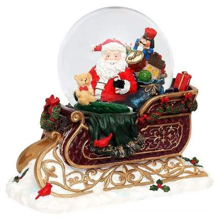 Снежный шар музыкальный санта в санях, подсветка, снежный вихрь, 28х24х16 см, батарейки