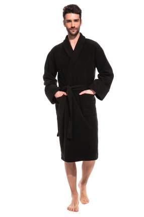 Мужской банный махровый халат Black Label ЕvaTeks 363/5, черный, 50-52