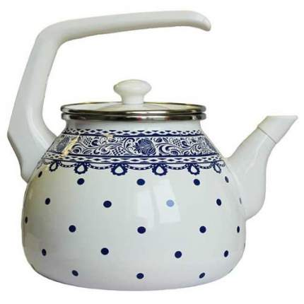 Чайник для плиты Interos Ажур синий3,0лэмалированный скр.