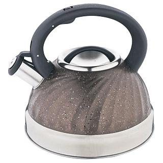 Чайник для плиты ALPENKOK AK-519 нерж.сталь со свистком 3,0л индукционное капс.дно (12)