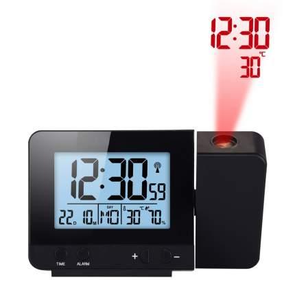Часы будильник с проекцией времени на потолок, Цвет: Черный, 3188.1