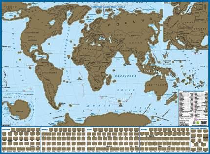 Карта мира с флагами СО СТИРАЕМЫМ СЛОЕМ. В подарочном тубусе