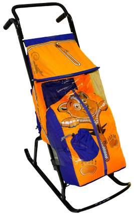 Санки-коляска R-Toys Снегурочка-2-Р Медвежонок, синий/оранжевый