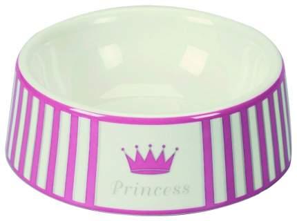 Одинарная миска для кошек и собак Chacco, керамика, розовый, серебристый, 0.5 л