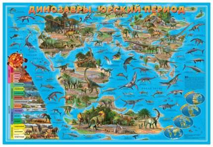 Карта мира настенная ГеоДом «Динозавры. Юрский период» 58х38 см